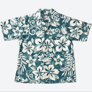 Men's Go Barefoot Hawaiian Leaf Print Shirt Medium